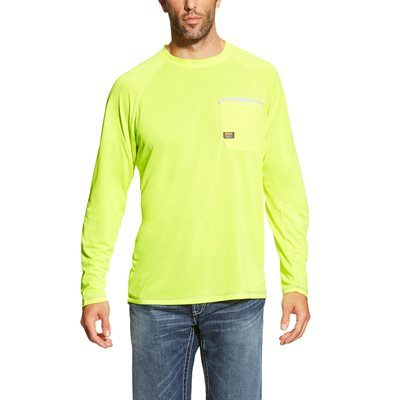 Ariat Men's ''Rebar Sunstopper'' Work Shirt - Lime