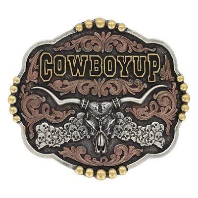 Boucle de Ceinture Montana   Tri-Color Cowboy Up Longhorn Skull   693baad7d17